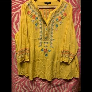 Tops - Mustard Embroidered Top